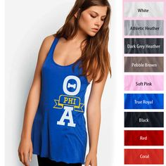 Theta Phi Alpha Printed Bella Flowy Tank Top $23.95 #Greek #Sorority #Clothing #ThetaPhiAlpha #TPA #FashionTank
