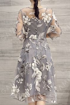 Buy Elegant Dress For Women at JustFashionNow. Online Shopping Plus Size Women Elegant A-line Printed Floral Gray Party Dress, The Best Daytime Elegant Dress. Floral Evening Dresses, Elegant Midi Dresses, Formal Dresses, Tattoo Dentelle, See Through Dress, Organza Dress, Lace Dress, Sammy Dress, Cheap Dresses