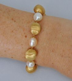 Magnificent New MARCO BICEGO Large 18K Yellow Gold Pearl Bracelet  #MARCOBICEGO #PEARL