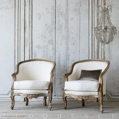 Vintage Bergeres: 1940 Darling Pair of Louis XV Style Vintage Bergeres in aged gilt finish with detailed carvings. Upholstered in white duct canvas. Two pairs available.