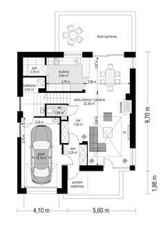 Projekt domu Tytan - 134.26 m2 - koszt budowy 135 tys. zł Construction, Floor Plans, Mirror, Gallery, House, Model, Building, Haus