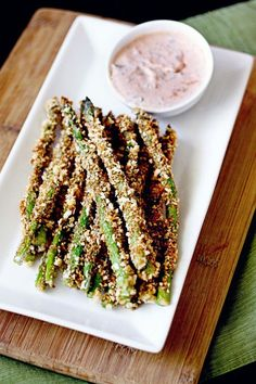 Crunchy Baked Asparagus Fries with Lemon Herb Sriracha Dip - Urban Organic Gardener