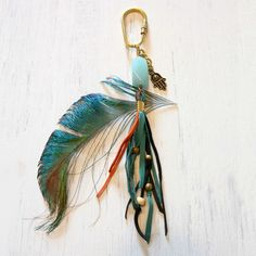 Boho Leather Fringe Bag Pendant with Aquamarine by gypsy soul jewellery