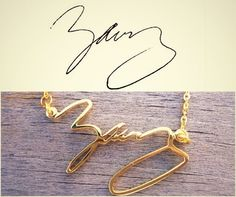 Handwriting jewelry - Signature Necklace - Personal necklace - Name Necklace - Handmade Jewelry 925 Sterling Silver - Silver Gold necklace on Etsy, $37.00