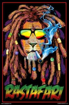 Rastafarian Lion - Black Light Poster www.trippystore.com/rastafarian_lion_black_light_poster.html