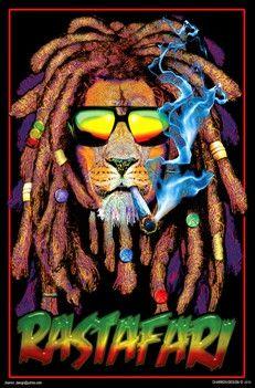 Rastafarian Lion - Black Light Poster www.trippystore.com/rastafarian_lion_black_light_poster.html