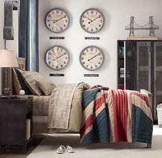 Teen Bedroom with International Flair. Use four Ikea Bravur clocks.