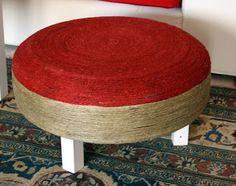Ottoman, footrest... tutorial Foot Rest, My Works, Ottoman Footrest, Chair, Diy, Furniture, Home Decor, Decoration Home, Ottomans