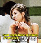 """"""" i just never think of money as an issue. — that's 'cause you have it. """" — TAGS: relationship, frenemies, brotp, enemies"""