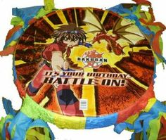 "Bakugan Party Pinata Custom New by Unknown. $32.99. Custom party pinata. Hanging hook. Tissue paper streamers. Bakugan Custom Pinata   Your Bakugan party is not complete without a Bakugan pinata. The pinata is 15 x 15 x 3.5"". Fill it with candy and party favors for a fun party game. The item is new. This pinata is custom made to order mylar party pinata. This listing is for the pinata only, filling is not included. This is an original style party pinata."