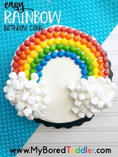 If you're looking for an easy birthday cake recipe, then you can't get much simpler than this easy rainbow birthday cake using a store bought cake, skittles and mini marshmallows. Easy Birthday Cake Recipes, Make Birthday Cake, Rainbow Birthday Party, Birthday Cake Decorating, Birthday Cakes For Kids, Cake Decorating For Kids, Belated Birthday, Funny Birthday, Kids Birthday Decorations