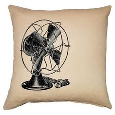 "Black and ivory linen-cotton pillow with a fan design.   Product: PillowConstruction Material: Linen and cottonColor: Black and ivoryFeatures: Insert includedDimensions: 20"" x 20""Cleaning and Care: Dry clean only"