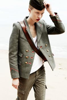 Great military styling look.    (Tina Luther Captures a Military Outing for Grazia Germany)