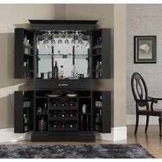 American Heritage Billiards Francesca Home Bar Corner Unit Black Mini Bar At Home, Bars For Home, Game Room Furniture, Bar Furniture, Bar Da Esquina, Corner Bar Cabinet, Bar Sala, Drinks Cabinet, Liquor Cabinet