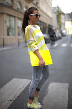 neon and neutrals. Yellow and grey. golden.