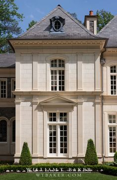 William T Baker Houses | laired roof, fluted pilasters, French, French country, French provincial, pediments, slate roof, stone walls, terrace