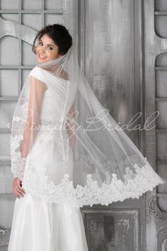 """#87023 - One Tier 45"""" Lace Trim Veil"""