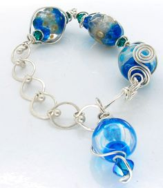 bracelets made from silver and lampwork glass beads