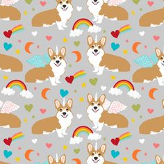 corgi unicorn fabric cute corgi illustration design - grey by petfriendly