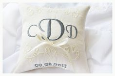 Custom Embroidery is welcome !   Customizable Personalized wedding Ring Pillows , beautiful linen pillow with ornaments is perfect for all
