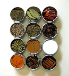 Magnetic Spice Rack. Efficient & keeps spices away from the stove so they don't spoil as quickly! #etsy