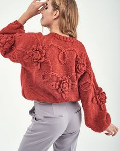 Red sweater with roses for women - Knittedpeople Pregnancy First, Pregnancy Trimesters Knitwear Fashion, Knit Fashion, Fashion Outfits, Red Sweaters, Sweaters For Women, Knitted Coat, Crochet Clothes, Pull, Clothing Patterns