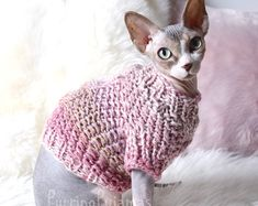Cat clothes, sphynx clothes, clothes for sphynx, sphynx sweater, sweater for sphynx, cat sweater, pink cat sweater, pet clothes, sphynx cat