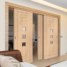 Thruslide Altino Oak - 3 Sliding Doors and Frame Kit - Clear Safety Glass - Prefinished - Lifestyle Image.    #moderndoors #contemporarydoors