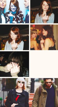 Emma Stone + middle finger