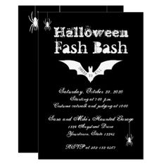 Halloween Invitation | Creepy Chic Bats & Spiders - chic design idea diy elegant beautiful stylish modern exclusive trendy