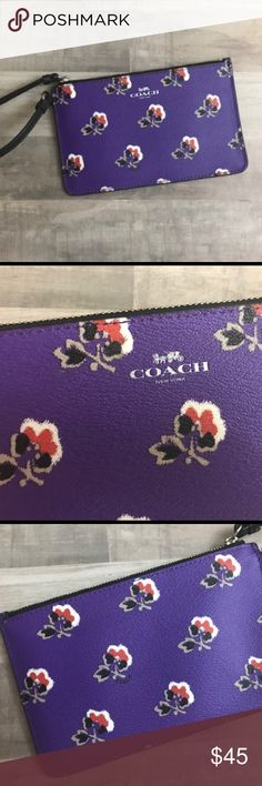 NWOT!!! Coach Purple Floral Print Wristlet NWOT!!! Brand New Coach Wristlet. Purple Floral Print with black strap. This Wristlet has never been used. Two pockets on the inside for ID or credit cards. Dimensions: approximately 7 inches wide and approximately 4.5 inches in height Coach Bags Clutches & Wristlets