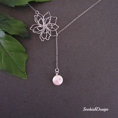 Lotus Necklace - Freshwater Coin Pearl Necklace - Dainty Silver Necklace - Lariat Necklace - Wedding Jewelry - Mothers Necklace. $28.00, via Etsy.