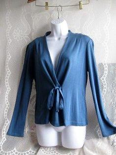 Ann-Taylor-Silk-Cornflower-blue-Tie-Sweater-size-Medium
