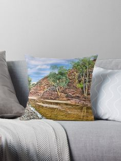 Rocks at Brachina Gorge, Flinders Ranges, Sth Australia Throw Pillow by TC-TWS.  A painting of a section of Brachina Gorge, South Australia, rock formations from the Cambrian era. The landscape is approximately 540 million years old.  Approx 480km (298 miles) north of Adelaide, SA. • Also buy this artwork on home decor, apparel, phone cases, and more.