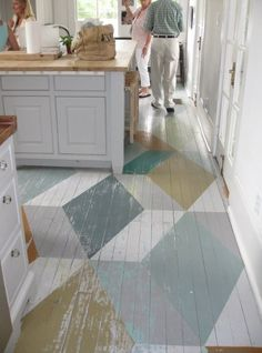 Cottage floor painted wood