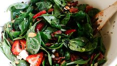Strawberry Spinach Salad- I made this for dinner tonight and it was FANTASTIC!