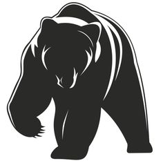 Vector illustration of a black and white bear in silhouette style illustration clutching the front leg with shiny long claws in front and side