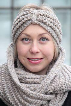 Set knitwear beige warm wool knitted accessories by JolantaKnit