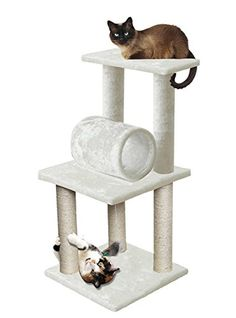 "33"" White Pet Cat Tree Play Tower Bed Furniture Scratch Post Tunnel Toy Mouse ** Check out the image by visiting the Amazon affiliate link."