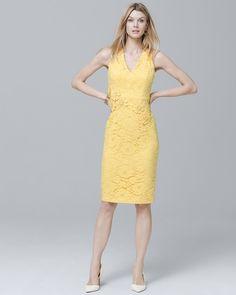 3D-Applique Lace Sheath Dress