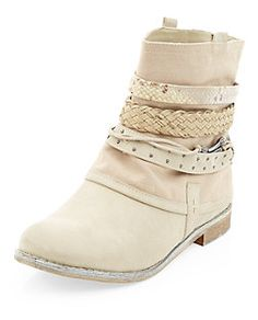Light Brown Multi Strap Cowboy Boots  | New Look