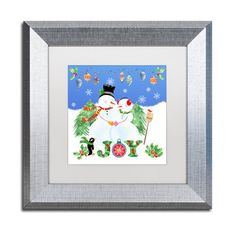 "Trademark Art 'Xmas Snowman' Framed Graphic Art Print Size: 11"" H x 11"" W x 0.5"" D, Mat Color: White"