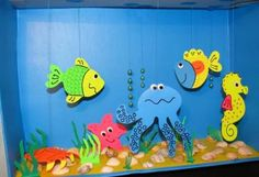 Art Activities for Kids. Summer Crafts on the Marine Theme / Arts and Crafts Activities for Kids. Summer Crafts For Kids, Diy For Kids, Kids Crafts, Diy And Crafts, Arts And Crafts, Cardboard Box Crafts, Paper Crafts, Paper Art, Aquarium Craft
