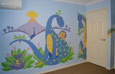 Rebekah chose to paint her dinosaurs in a softer blues and lavenders. Kids Wall Decals, Art Wall Kids, Murals For Kids, Dinosaur Wall Stickers, Mural Wall Art, Bedroom Murals, Kids Bedroom, Nursery Murals, Bedroom Ideas
