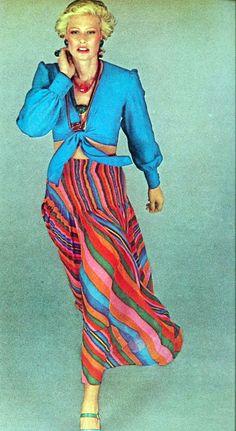 Vogue 1973 day wear skirt blouse stripes blue pink red green gold orange crop top bandeau tie 70s vintage fashion style