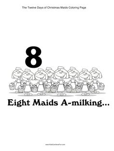 12 Days Of Christmas Eight Maids A Milking Coloring Page