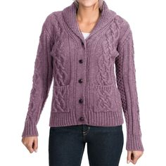 Peregrine by J.G. Glover Aran Shawl Collar Cardigan Sweater (For Women) - Save 59%