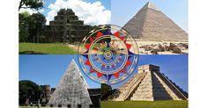 Clockwise from top left - Koh Ker, Cambodia (thomaswanhoff/CC BY SA 2.0), Pyramid of Khafre, Egypt (MusikAnimal/CC BY SA 3.0), El Castillo, Chichén Itzá, Mexico (Grand Velas Riviera Maya/CC BY SA 2.0), Pyramid of Cestius, Italy (Nicholas Laughlin/CC BY NC SA 2.0) Center: Replica of a wind rose from the chart of Jorge de Aguiar, 1492. (Alvesgaspar/CC BY SA 3.0)