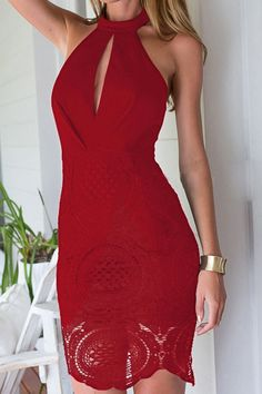 Halter Neck Backless Lace Openwork Dress