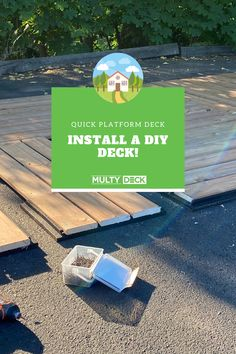 "Anyone can install this ground-level deck! Using MultyDeck #recycledrubber bases, and your choice of 6"" wooden or composite decking boards, a platform deck can be built in just a few hours! Learn more about this easy-to-install solution by watching this short video! #deckideas #platformdecks #diy Ground Level Deck, How To Level Ground, Decking Boards, Platform Deck, Diy Deck, Composite Decking, Wooden Decks, Recycled Rubber, Canning"